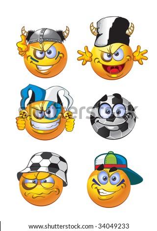 set of batch football round smiles