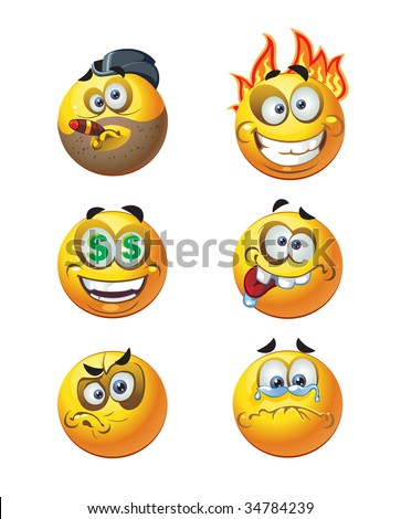 set of batch vector round smiles emotion crazy and money