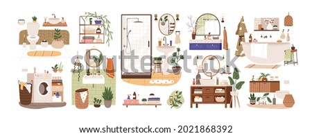 Set of bathroom and toilet interiors in Scandinavian style. Bath and closet rooms with washbasins, sinks, mirrors, shower, cabinets and plants. Flat vector illustration isolated on white background
