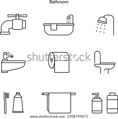 set of bathroom icon isolated on white background from hygiene collection. Bathroom icon trendy and modern Bathroom symbol for logo, web, app, UI. Bathroom icon simple sign.