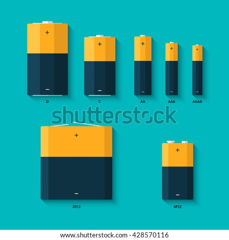 set of batteries of different