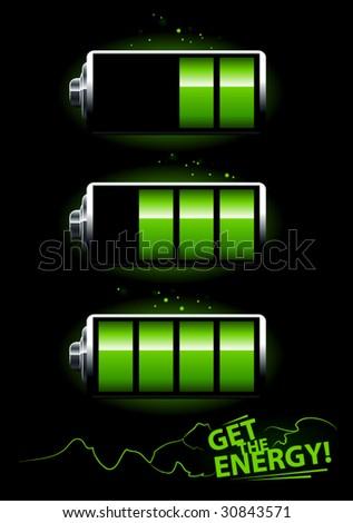 Set of batteries on black background