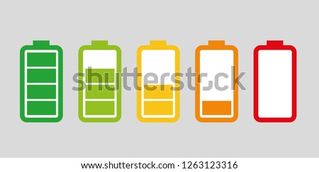Set of batteries with different levels of charge.
