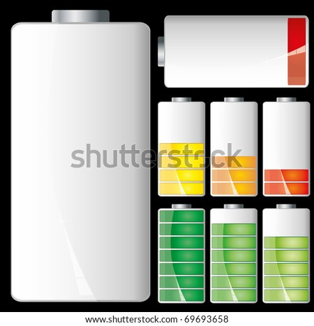 Set of Battery charge showing stages of power running low and full, vector