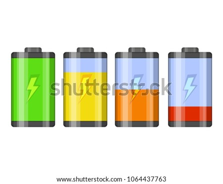 Set of battery level indicator vector icons. Glossy transparent Battery with lightning isolated on white background. Vector illustration