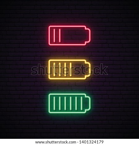 Set of battery neon icon. Charger glowing sign. Vector symbol of low and full battery.