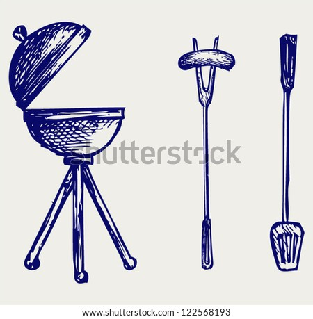 Set of bbq objects. Doodle style