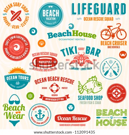 Set of beach and ocean style badges and emblems - stock vector