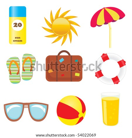 set of beach and summer icons