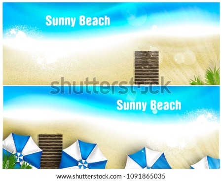 set of beach banner for poster