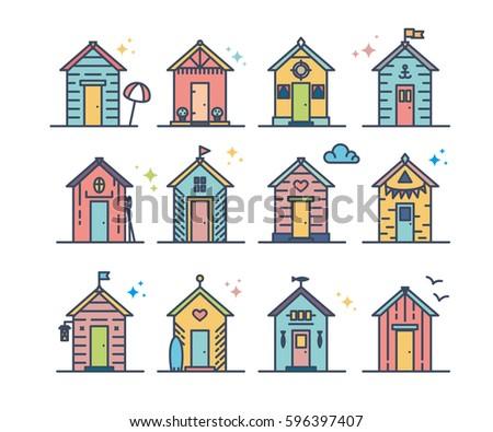 set of beach hut icons  flat