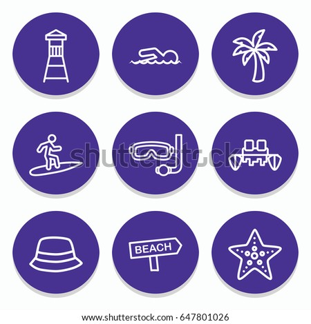 set of 9 beach outline icons