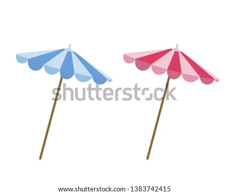 set of beach sun umbrellas in