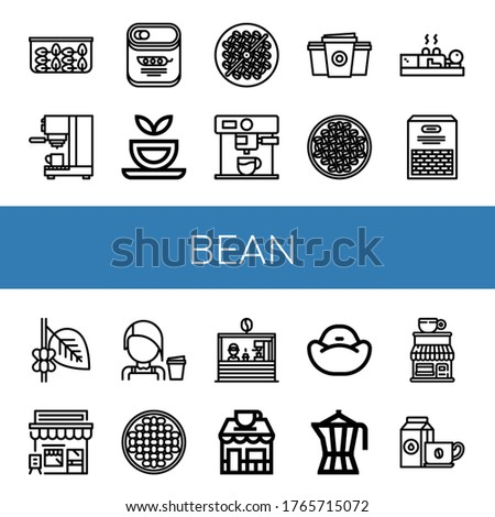 Set of bean icons. Such as Spinach, Coffee maker, Peas, Herbal tea, Bean toasting, Paper cup, Coffee beans, Cupping, Beans, Coffee, Cafe, Barista, shop, Bean bag , icons