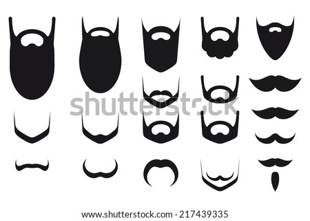 Set of beard and mustache silhouettes ストックフォト ©