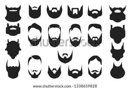 Set of bearded men faces, hipsters with different haircuts, mustaches, beards. Silhouettes, emblems, icons, labels. Vector illustration.