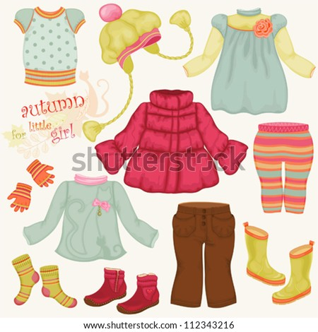 Set Of Beautiful Autumn Clothes For Little Girl Stock ...