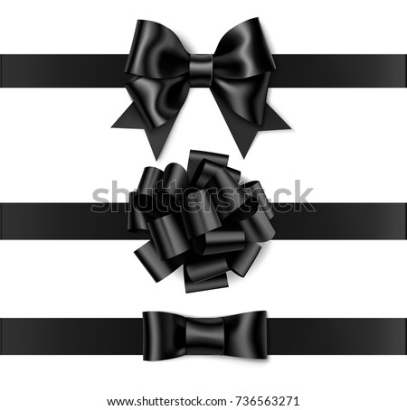 set of beautiful black bow with