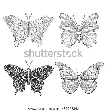 set of beautiful butterflys