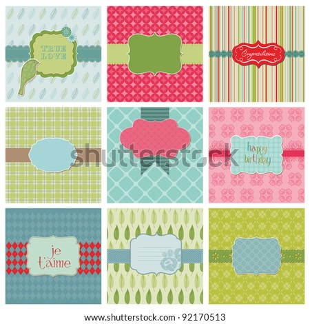 Set of Beautiful Cards for birthday wedding congratulation invitation greetings in vector