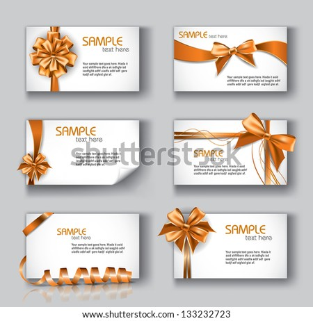 Set of Beautiful Cards With Orange Gift Bows And Ribbons. Vector Design. - stock vector