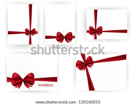 Set of beautiful cards with red gift bows with ribbons