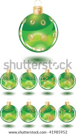 Set of beautiful Christmas green glass balls with decoration - stock vector