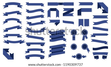 Set Of Beautiful Colored Blue Ribbons.Elements For Your Design Vector Illustration