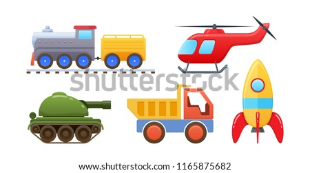 Set of beautiful colored children's toys. Kinds of kids toys, vehicles: rail train with wagons, military tank, truck car, fly helicopter, space rocket. Vector illustration isolated.