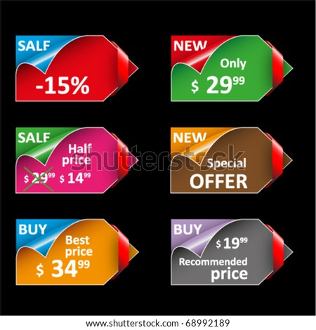 Set of beautiful colored labels and tags for sale