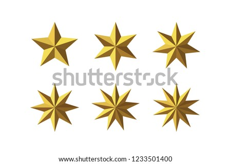 Set of beautiful faceted shiny golden metal stars isolated on white. Five, six, seven, eight, nine, ten pointed star isolated on white. Geometric figures. Design elements. EPS 10 vector. #1233501400