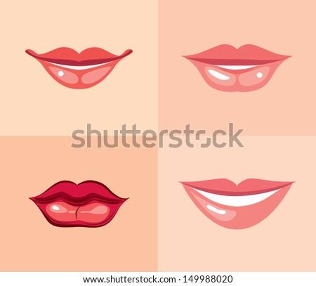set of beautiful female lips