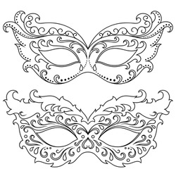 Set of beautiful festive masks to celebrate Halloween, New Year, Carnival or party. Elements female holiday costume.
