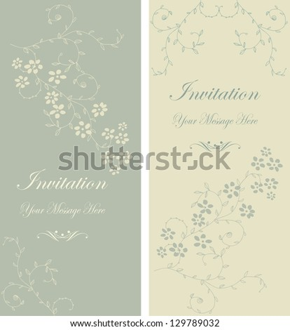 set of beautiful floral invitation cards