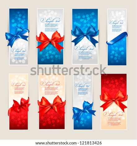 Set of beautiful Gift cards with red and blue gift bows with ribbons Vector illustration. - stock vector