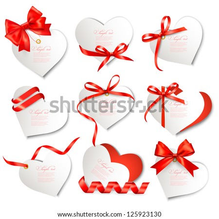 Set of beautiful gift cards with red gift bows and hearts Valentine's day Vector illustration