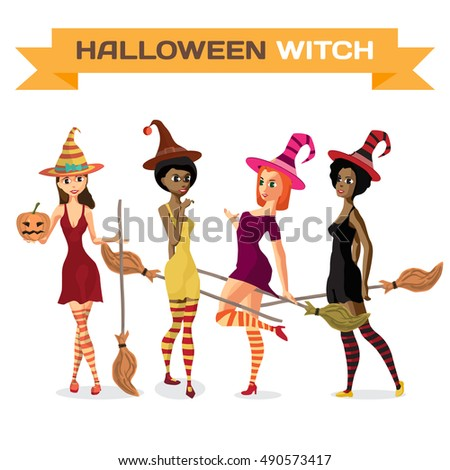 set of beautiful girls witches