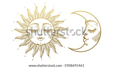 Set of beautiful golden mystical elements in boho style, sun and crescent moon with face. Design elements, tattoos, stickers. Linear vector illustration isolated on white background.