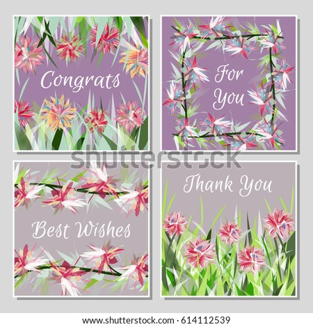 Set of beautiful greeting cards with exotic tropical flowers placed in grass or twisted into frames. Bright multicolored flowers and leaves on light background. Universal congratulation card set.