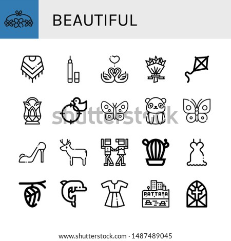 set of beautiful icons such as
