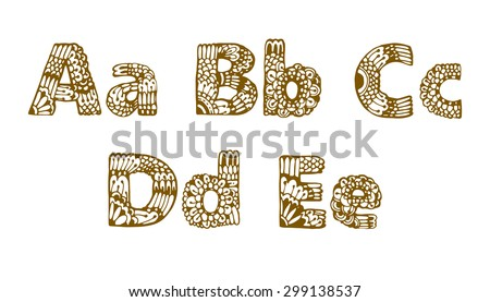 Set Of Beautiful Letters With Floral Ornaments A B C D