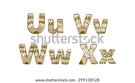 Common Worksheets capital letters and small letters : Set Of Beautiful Letters With Floral Ornaments. U, V, W, X ...