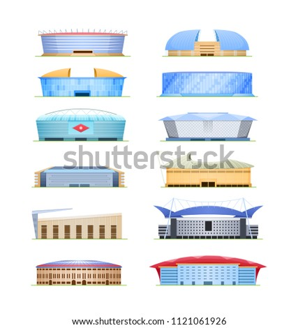Set of beautiful modern sports stadium for football championship, sports arena. Exterior football stadium, side view. Covered, open field with stands and canopy. Vector illustration.