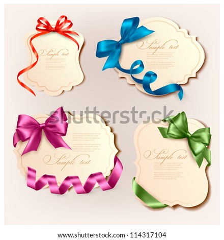 Set of beautiful retro cards with colorful gift bows with ribbons. Vector illustration.