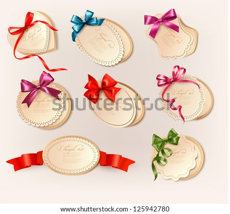 Set of beautiful retro labels with colorful gift bows with ribbons. Vector illustration
