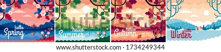 set of 4 beautiful seasons
