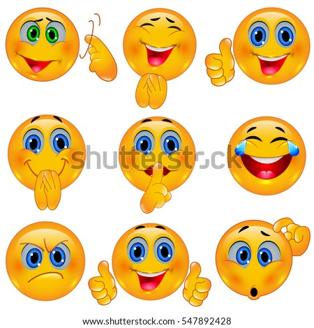 Set of Beautiful Smiley Faces / Emotional Icons. 3D Vector Illustration Сток-фото ©