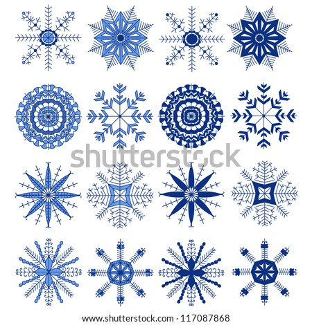 Set of beautiful snowflakes for Christmas. Vector illustration for winter design