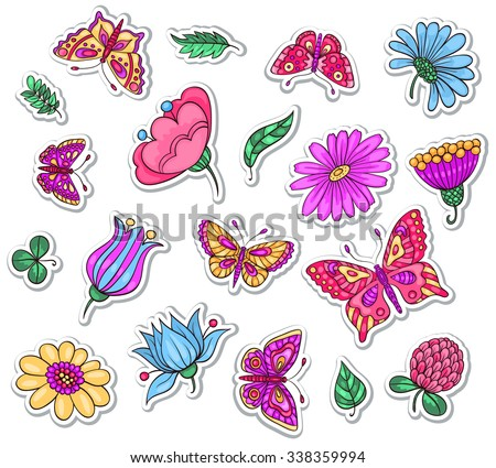 Set of beautiful stickers flowers and butterflies vector hand drawn illustration