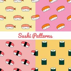 Set of beautiful sushi seamless pattern, seamless pattern of cute sushi flat design